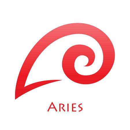 aries: Illustrazione di semplicistico Lines Ariete Segno zodiacale isolato su uno sfondo bianco