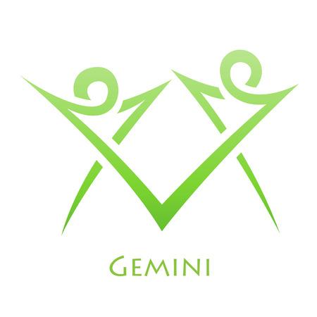 gemelas: Ilustración de líneas simples Gemini Zodiac Signo aislado en un fondo blanco
