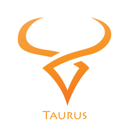 Illustration of Simplistic Lines Taurus Zodiac Star Sign isolated on a white background Stock Illustratie
