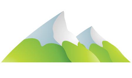 altas: Ilustración de las Montañas Snowy Cartoon aislado en un fondo blanco
