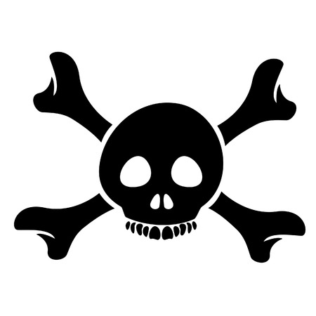 Illustration of Skull and the Crossbones Cartoon isolated on a white background Stock Vector - 23637828