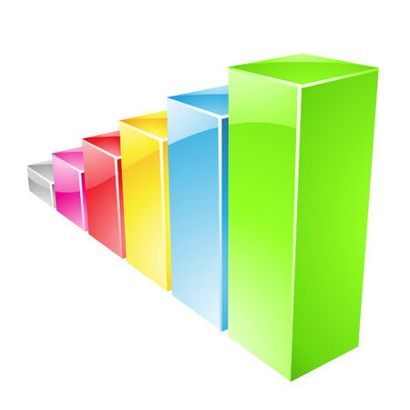stat: Illustration of Colorful Glossy Stat Bars isolated on a white background