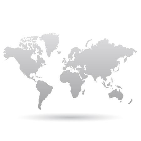 灰色の世界地図、白い背景で隔離のイラスト  イラスト・ベクター素材