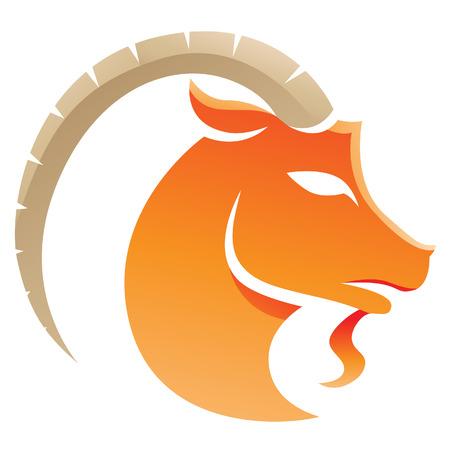 capricornio: Ilustración del zodiaco del Capricornio Signo aislado en un fondo blanco Vectores