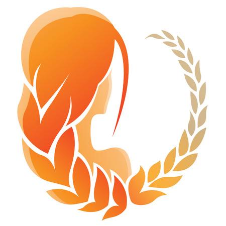 virgo: Ilustración de Virgo Signo del Zodiaco aislado en un fondo blanco Vectores