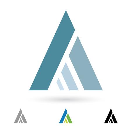 文字 A に基づく抽象的なアイコンの図