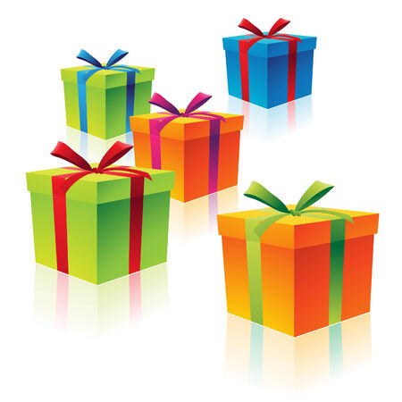 Illustration of Colorful Cardboard Gift Boxes Vector