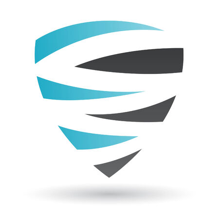 blue shield: Black and Blue Abstract Icon Illustration isolated on a white background Illustration