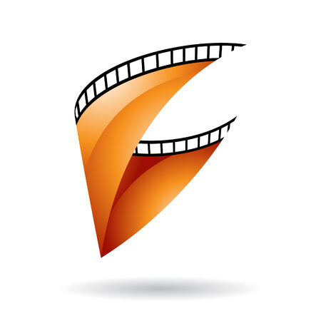 cinematic: Orange Glossy Film Reel Isolated on a white background