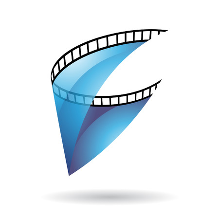 video reel: Blue Transparent Film Reel Isolated on a white background