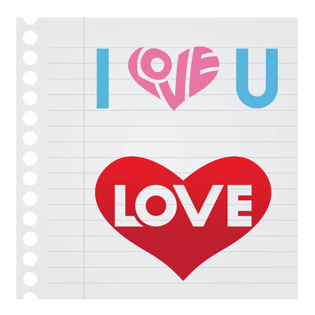notebook paper background: Stock Illustration of I Love You Text on Notebook paper