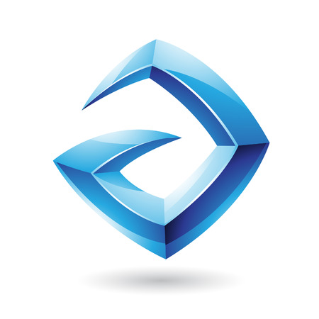 Vector Illustration of a 3d Sharp Glossy Blue  Shape based on Letter A Vector