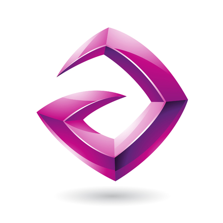 Vector Illustration of a 3d Sharp Glossy Magenta Shape based on Letter A Vector
