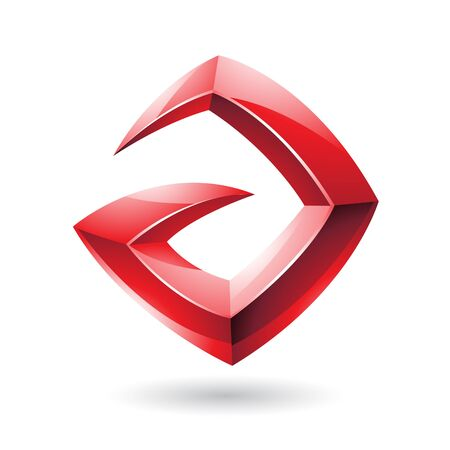 Vector Illustration of a 3d Sharp Glossy Red  Shape based on Letter A Vector