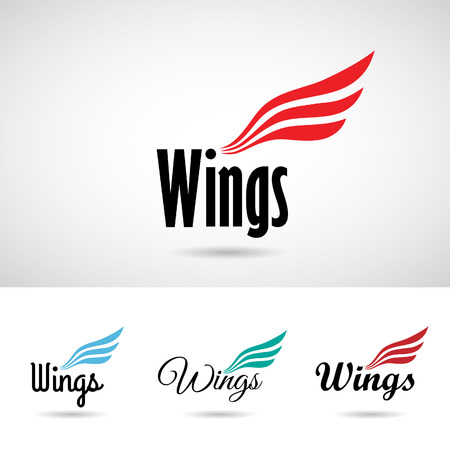 abstract wing: Colorful Wing Shape Icon Vector Illustration