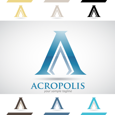 stock clip art icons: Design Concept of Colorful Stock Logos Icons and Shapes of Letter A, Vector Illustration