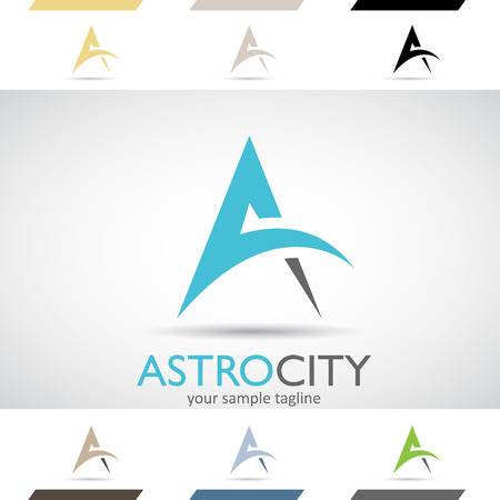 Design Concept of Colorful Stock Logos Icons and Shapes of Letter A, Vector Illustration