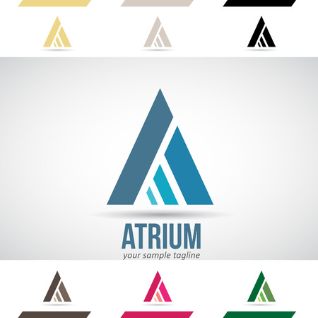 green arrow: Design Concept of Colorful Stock Logos Icons and Shapes of Letter A, Vector Illustration