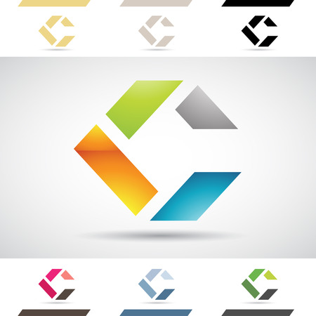 Design Concept of Colorful Stock Logos Icons and Shapes of Letter C, Vector Illustration Illustration
