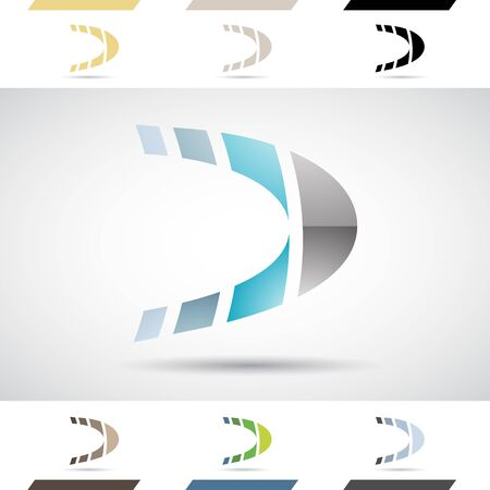 d: Design Concept of Colorful Stock Icons and Shapes of Letter D Illustration