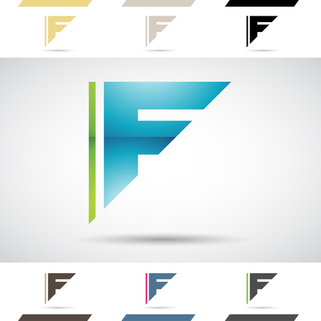 letter f: Design Concept of Colorful Stock Icons and Shapes of Letter F