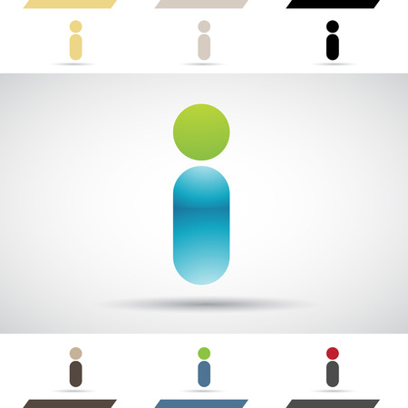 stock clip art icon: Design Concept of Colorful Stock Icons and Shapes of Letter I Illustration Illustration