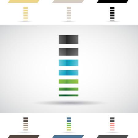 rectangulo: Concepto de diseño de coloridos iconos de archivo y formas de la letra I Ilustración