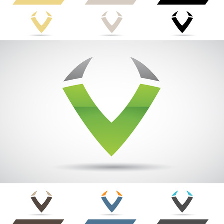 stock clip art icon: Design Concept of Colorful Stock Icons and Shapes of Letter V