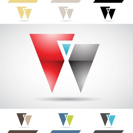 stock clip art icon: Design Concept of Colorful Stock Icons and Shapes of Letter W