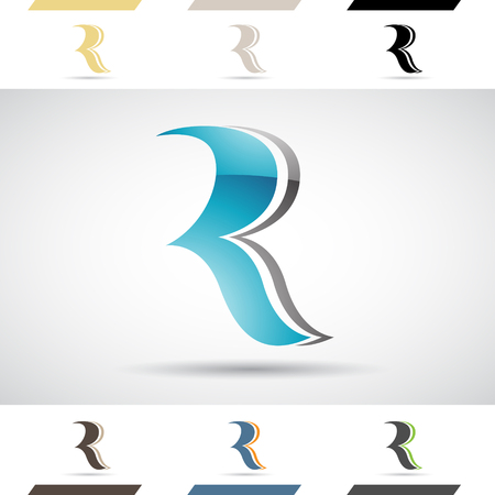 stock clip art icon: Design Concept of Colorful Stock Icons and Shapes of Letter R