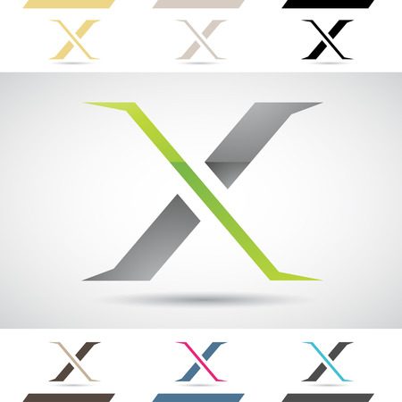 stock clip art icon: Design Concept of Colorful Stock Icons and Shapes of Letter X Illustration
