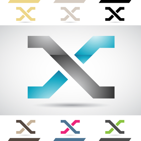 letter x: Design Concept of Colorful Stock Icons and Shapes of Letter X Illustration