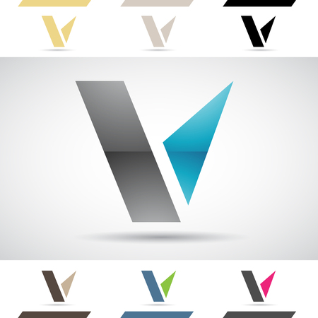 Design Concept of Colorful Stock Icons and Shapes of Letter V