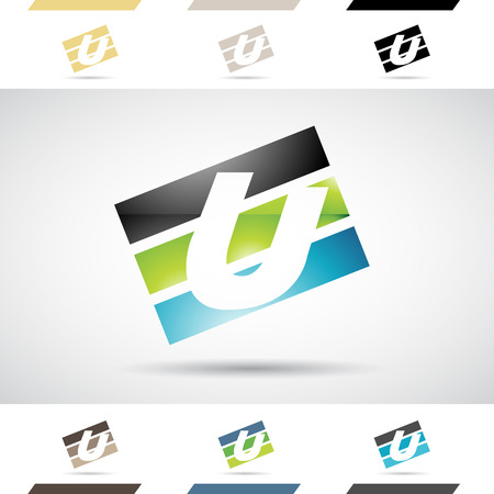 stock clipart icons: Design Concept of Colorful Stock Icons and Shapes of Letter U