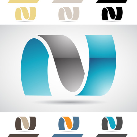 Design Concept of Colorful Stock Icons and Shapes of Letter N