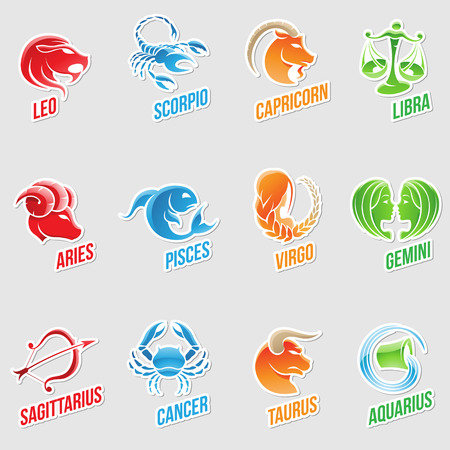 cancer illustration: Illustration of Zodiac Star Signs with Sticker like Designs