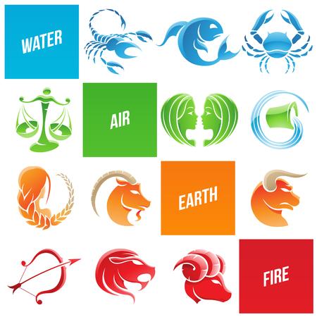 Illustration of Colorful Zodiac Star Signs Иллюстрация