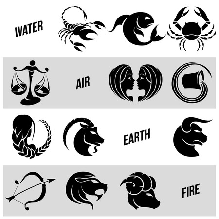 Illustration of Black Zodiac Star Signs