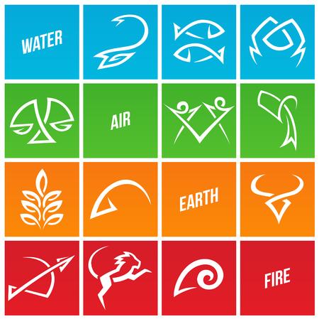 simplistic: Illustration of Simplistic Zodiac Star Signs