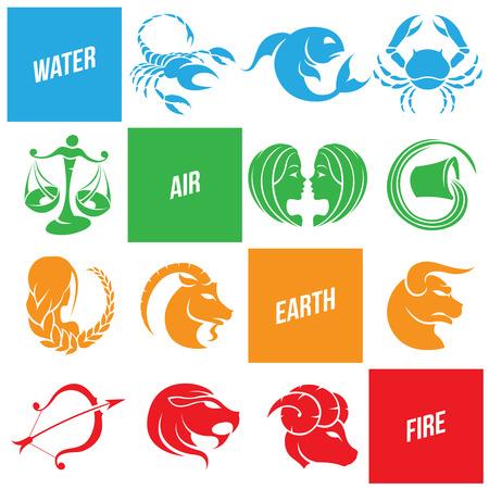 virgo the virgin: Illustration of Colorful Zodiac Star Signs Illustration