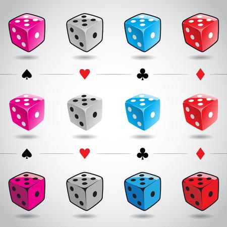 dados: Ilustraci�n 3d Trajes Dices brillantes y de tarjetas de colores aislados sobre un fondo blanco