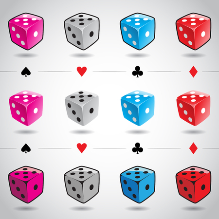Illustration 3d Colorful Glossy Dices and Card Suits isolated on a white background Illustration