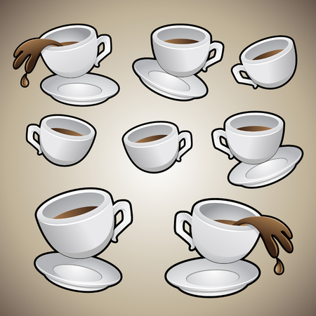 coffee spill: Illustration of Coffee Cups isolated on a brown background Illustration