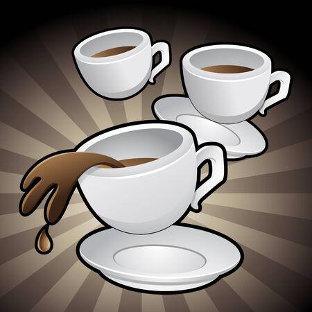 tazas de cafe: Ilustraci�n de las tazas de caf� con platillos en un fondo marr�n