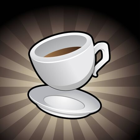 coffee spill: Illustration of a Coffee Cup with a saucer on a brown background
