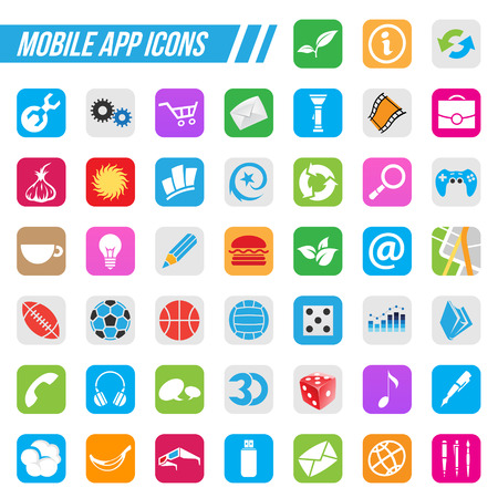 mobile app: Vector Illustration Mobile App Icons, isolated on a white background