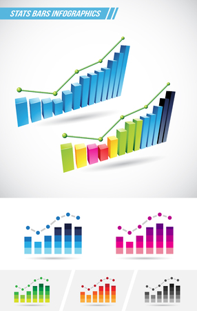 stat: Vector illustration of colorful stat bars isolated on a white background Illustration
