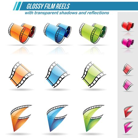 cinematic: Vector Illustration of Glossy Film Reels with transparent shadows and reflections, isolated on a white background Illustration