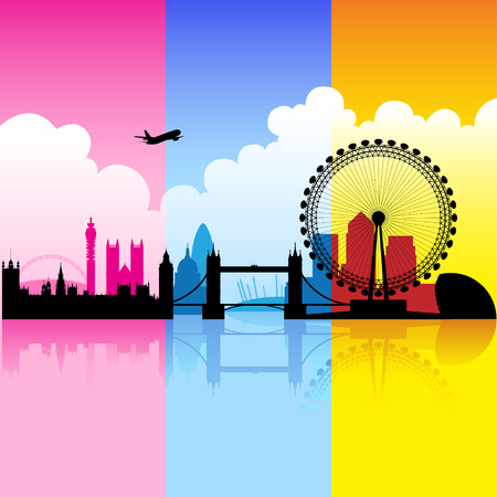 westminster abbey: Vector Illustration of colorful London landmarks with reflections on river thames