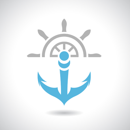marine industry: Vector Illustration of an Anchor and Rudder Icon isolated on a white background Illustration